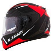 Capacete LS2 FF320 Stream Edge Matte Black/White/Red