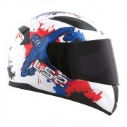 Capacete LS2 FF353 Rapid Infantil - junior monster - branco/azul