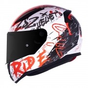 Capacete LS2 FF353 Rapid Naughty - branco/vermelho