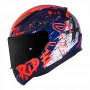 Capacete LS2 FF353 Rapid Naughty matte azul/laranja fluo