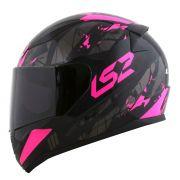 Capacete LS2 FF353 Rapid Palimnesis - Black/Pink - feminino