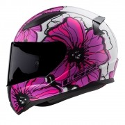 Capacete LS2 FF353 Rapid Poppies - branco/rosa