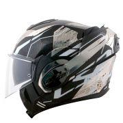 Capacete LS2 FF399 Valiant Roboto - Black/White/Chromo - Escamoteável
