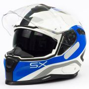 Capacete Nexx SX100 Popup Branco/Azul Com Viseira Solar e Pinlock Anti-Embaçante (k3)