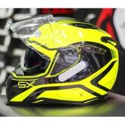 Capacete Nexx SX100 Popup Preto/Amarelo Com Viseira Solar e Pinlock Anti-Embaçante (k3)