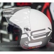 Capacete Nexx X70 City Branco/Cinza Fosco Tri-Composto - Aberto