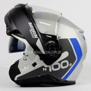 Capacete Nolan N100-5 Plus Distinctive Prata/Cinza/Azul 30 - Articulado C/ Viseira Solar - Ganhe Touca Balaclava