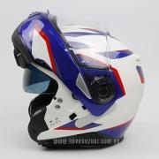 Capacete Nolan N100-5 Plus Overland Branco/Vermelho/Azul (36) - Articulado C/ Viseira Solar - Ganhe Touca Balaclava