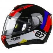 Capacete Nolan N87 Distinctive Tricolor Branco/Azul/Vermelho (28) C/ Viseira Solar - Ganhe Touca Balaclava (AGV K1 / K3 SV)