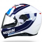 Capacete Nolan N87 Skilled Branco/Azul (99) C/ Viseira Solar - Ganhe Touca Balaclava (AGV K1 / K3 SV)