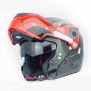 Capacete Nolan N90 Straton Preto e Vermelho - Escamoteável C/ Viseira Solar Interna