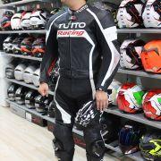 Macacão Tutto Moto Racing 2 pçs Branco c/ Prata - GANHE Protetor de Coluna Tutto Combat - Super Queima