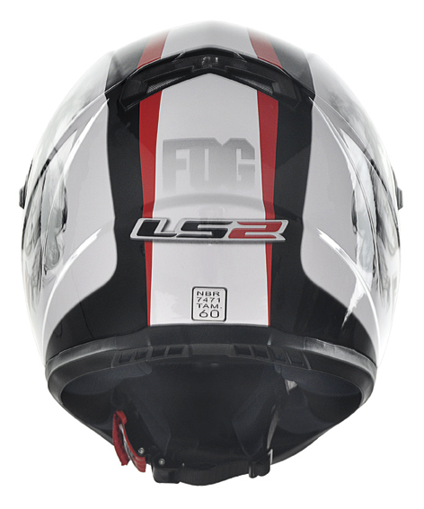 Capacete LS2 FF358 Fog - Branco com Vermelho  - Nova Suzuki Motos e Acessórios