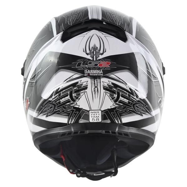 Capacete LS2 FF358 Darmha Branco C/ Cinza  - Nova Suzuki Motos e Acessórios