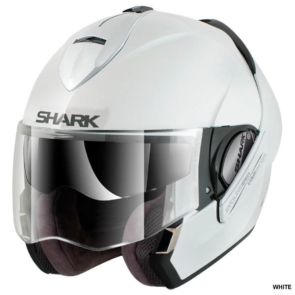 Capacete Shark Evoline Serie 3 Fusion Branco Escamoteável/Articulado  - Nova Suzuki Motos e Acessórios