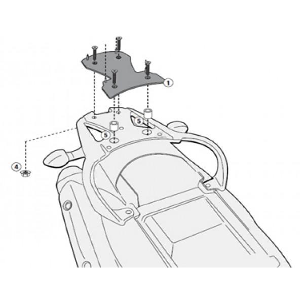 Suporte para base do baú Givi SR3101M (baú nacional) DL650 (12 à 17) - Pronta Entrega  - Nova Suzuki Motos e Acessórios