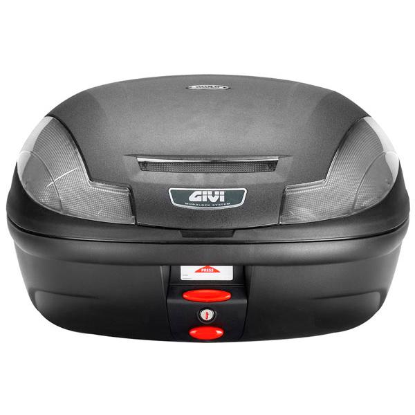 Baú Givi E470 Lente Fumê traseiro - Cabe até 2 capacetes  - Nova Suzuki Motos e Acessórios