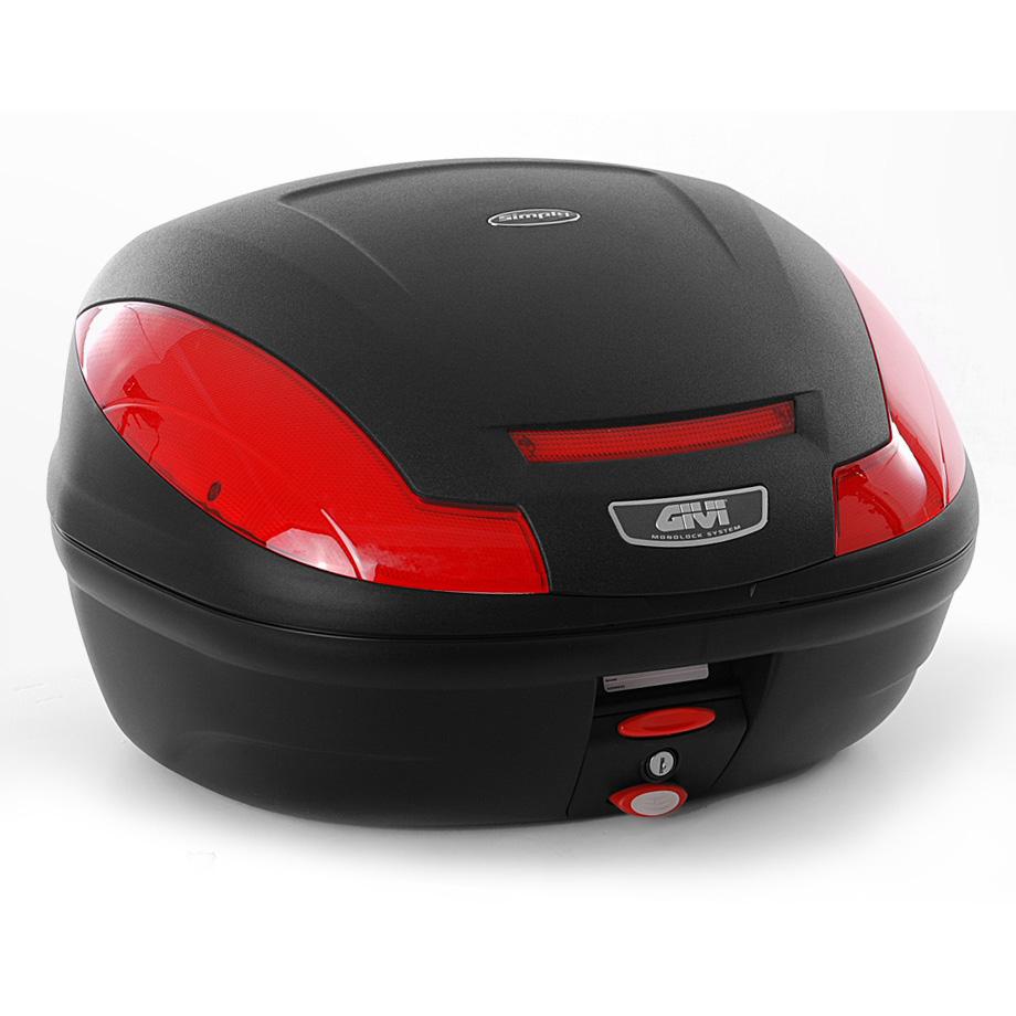 Baú Givi E470 Lente Vermelha traseiro  - Nova Suzuki Motos e Acessórios