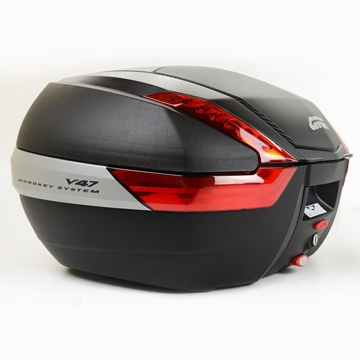 Baú Givi V47 Monokey Carbon Vermelho traseiro (v47nn)  - Nova Suzuki Motos e Acessórios