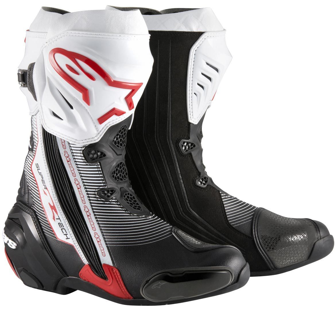 Bota Alpinestars Supertech R - (Black/Red/White)  - Nova Suzuki Motos e Acessórios