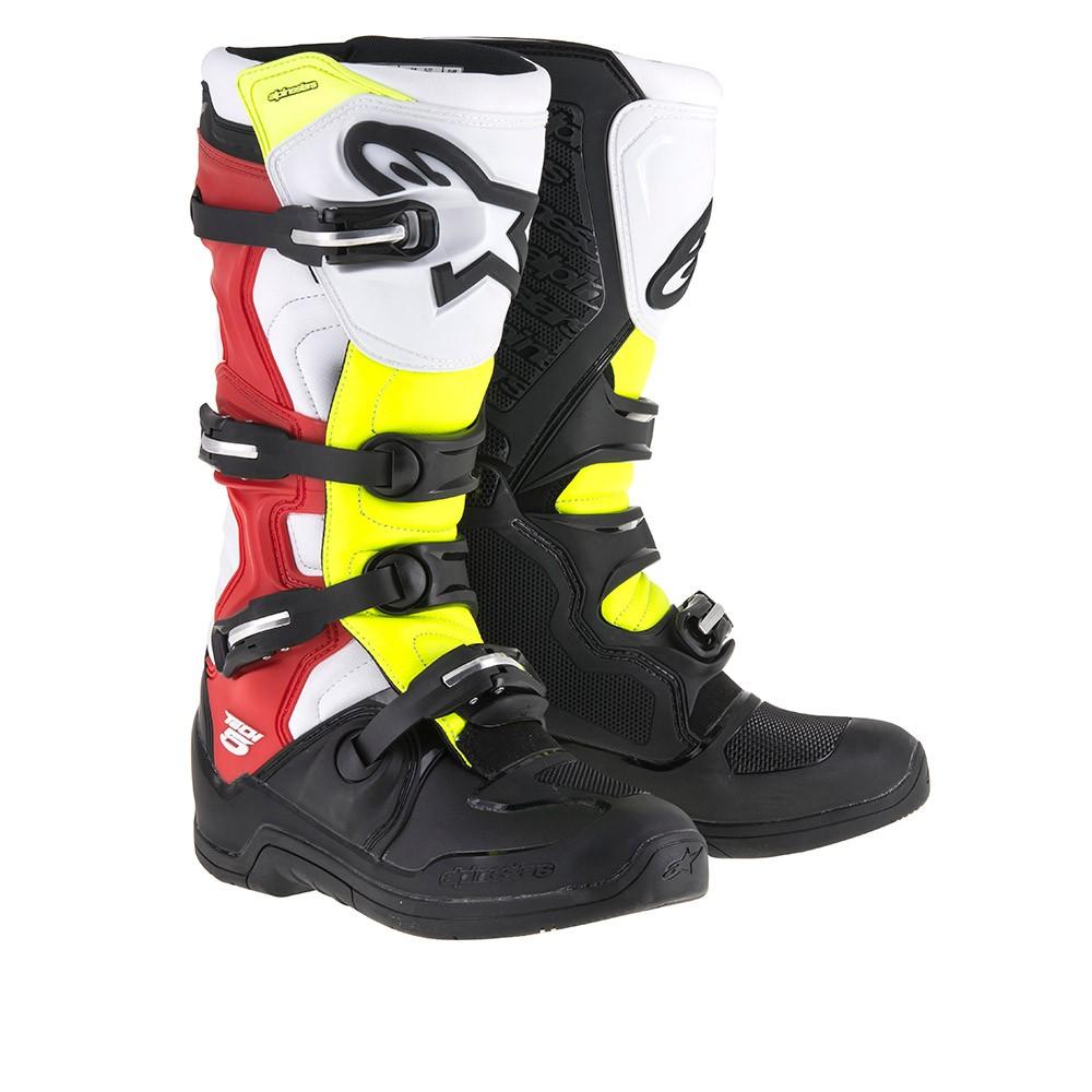 Bota Alpinestars Tech 5 (Black/White/Red/Yellow)  - Nova Suzuki Motos e Acessórios