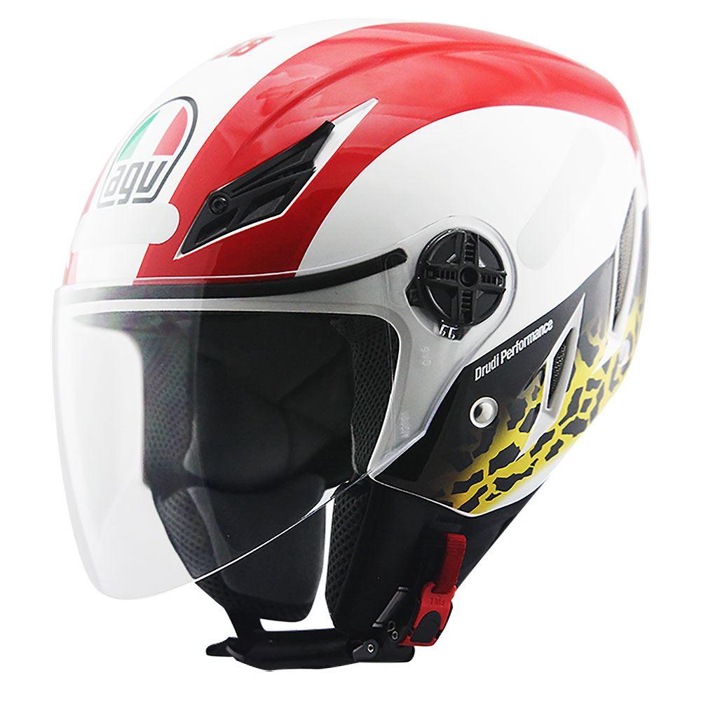 Capacete AGV Blade Simoncelli Branco/Vermelho - Só 61  - Nova Suzuki Motos e Acessórios