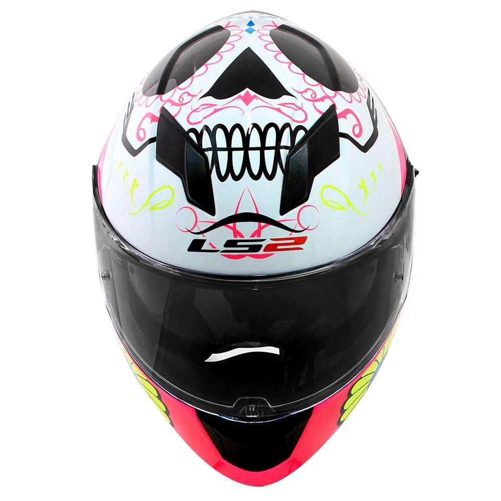 Capacete Ls2 Ff320 Stream Couture - Pink/White - C/ Viseira Solar  - feminino  - Nova Suzuki Motos e Acessórios