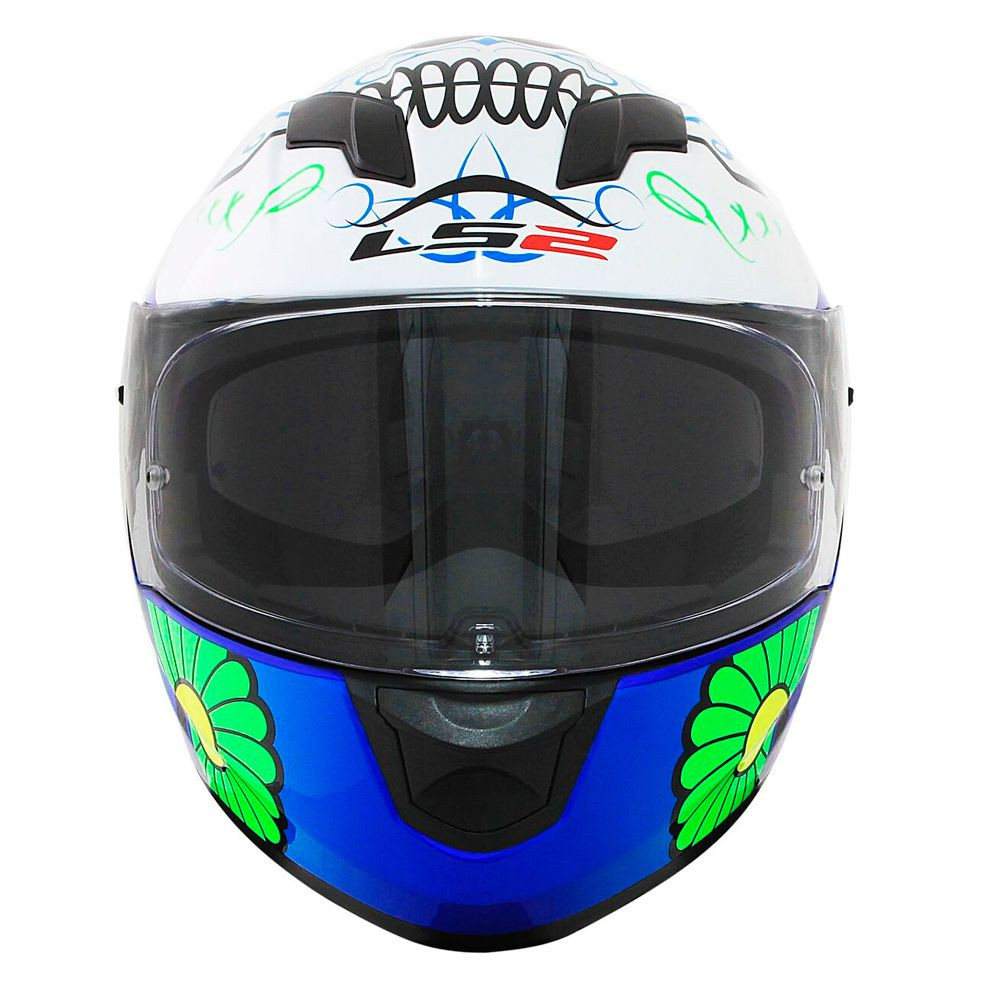 Capacete Ls2 Ff320 Stream Couture - White/Blue - C/ Viseira Solar  - feminino  - Nova Suzuki Motos e Acessórios