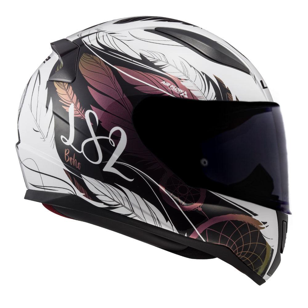 Capacete LS2 FF353 Rapid Boho - branco/preto/rosa  - Nova Suzuki Motos e Acessórios