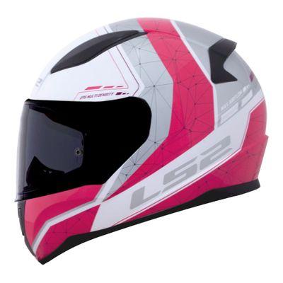Capacete LS2 FF353 Rapid Candie - branco/rosa  - feminino  - Nova Suzuki Motos e Acessórios