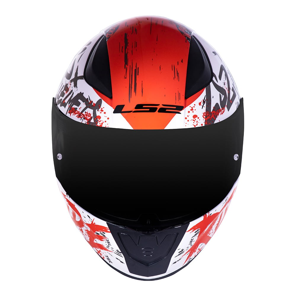 Capacete LS2 FF353 Rapid Naughty - branco/vermelho  - Nova Suzuki Motos e Acessórios