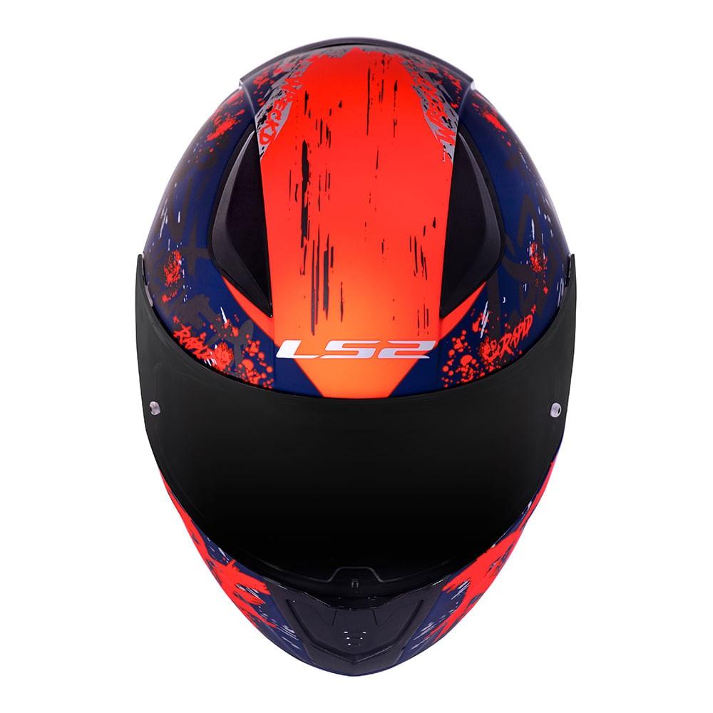 Capacete LS2 FF353 Rapid Naughty matte azul/laranja fluo  - Nova Suzuki Motos e Acessórios