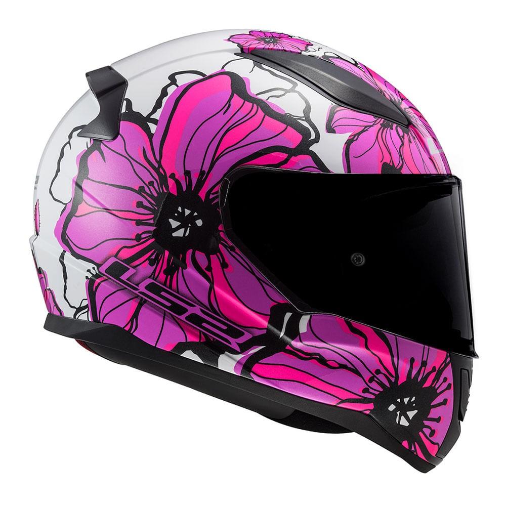 Capacete LS2 FF353 Rapid Poppies - branco/rosa  - Nova Suzuki Motos e Acessórios