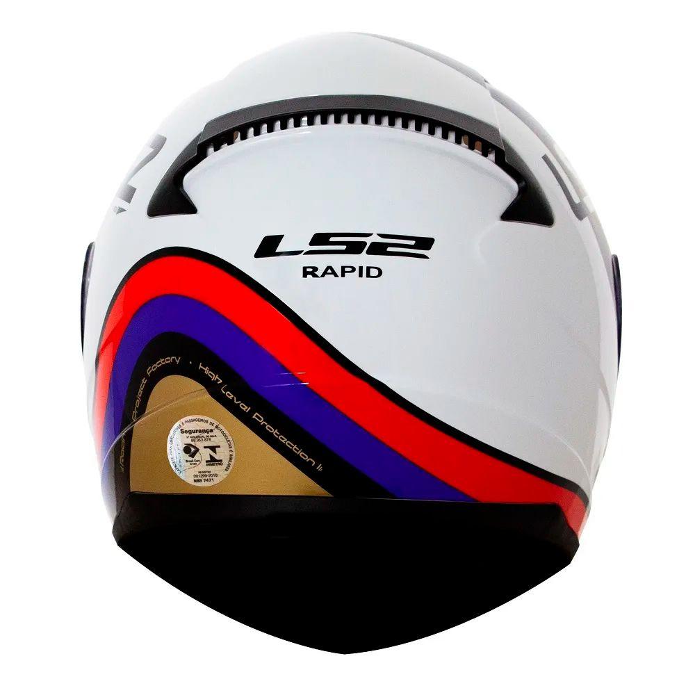Capacete LS2 FF353 Rapid Stark - White/Red/Blue/Gold  - Nova Suzuki Motos e Acessórios