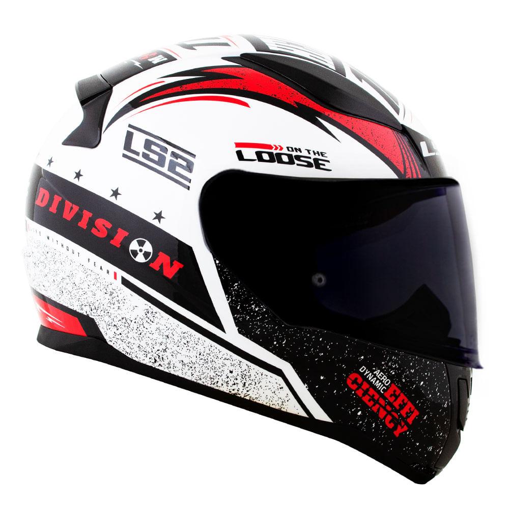 Capacete LS2 FF353 Rapid Thunder - branco/preto/vermelho  - Nova Suzuki Motos e Acessórios