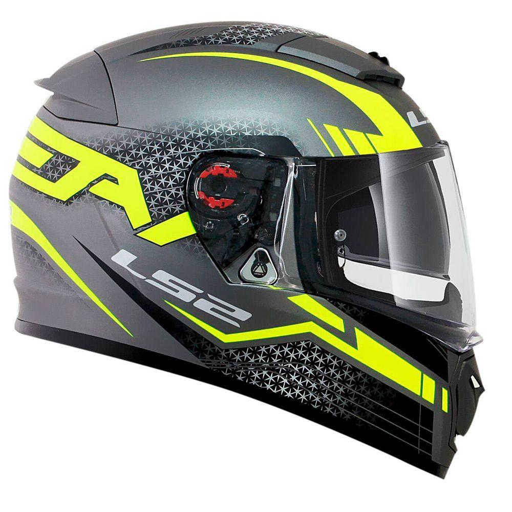 Capacete LS2 FF390 Breaker Split - Matte Titanium/Yellow  - Nova Suzuki Motos e Acessórios