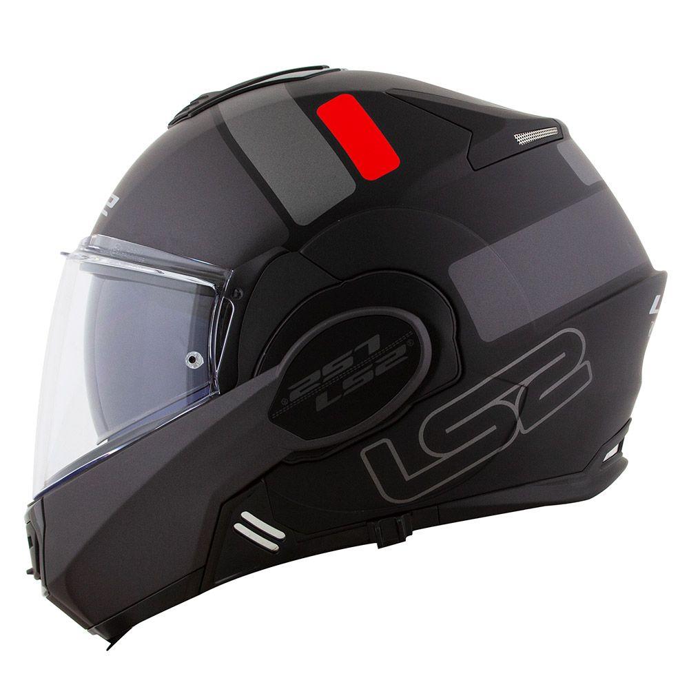 Capacete LS2 FF399 Valiant Prox matte BLK/TITANIUM  - Escamoteável  - Nova Suzuki Motos e Acessórios