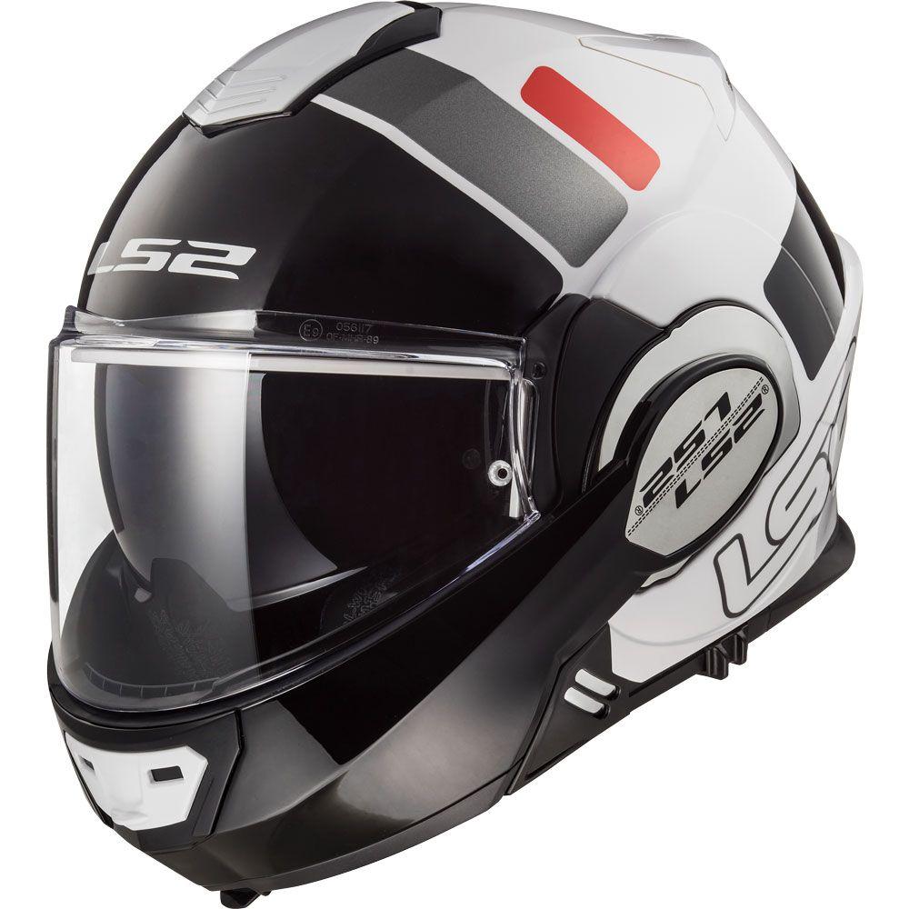 Capacete LS2 FF399 Valiant Prox WHT/RED/BLACK - Escamoteável  - Nova Suzuki Motos e Acessórios