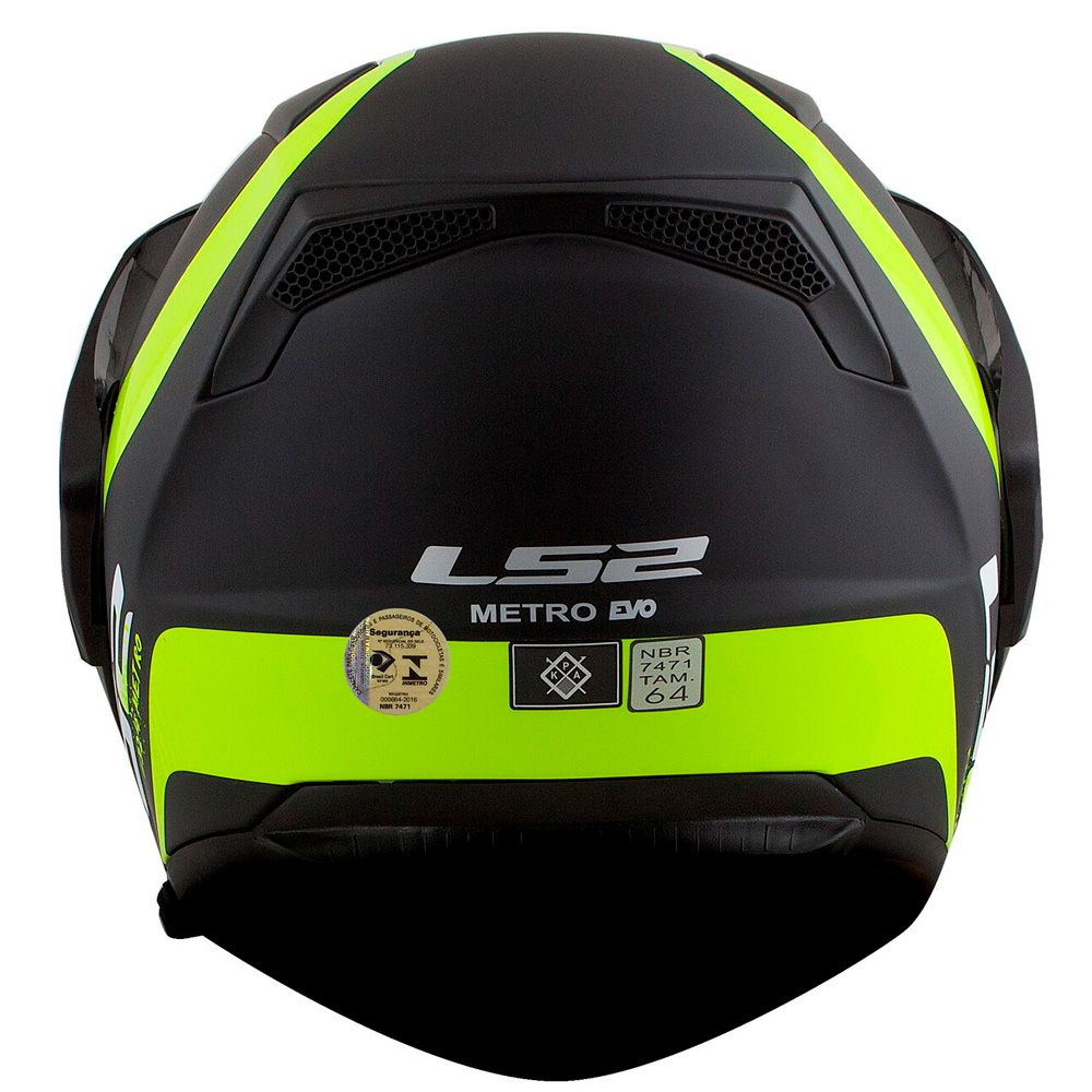 Capacete LS2 Metro Evo FF324 Rapid Articulado - Matte Black/GLS FLO Yellow  - Nova Suzuki Motos e Acessórios