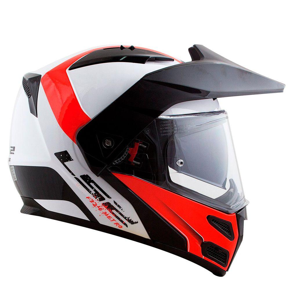 Capacete LS2 Metro Evo FF324 Rapid Articulado - White Red - Nova Suzuki  Motos e ... e9f499b2de5