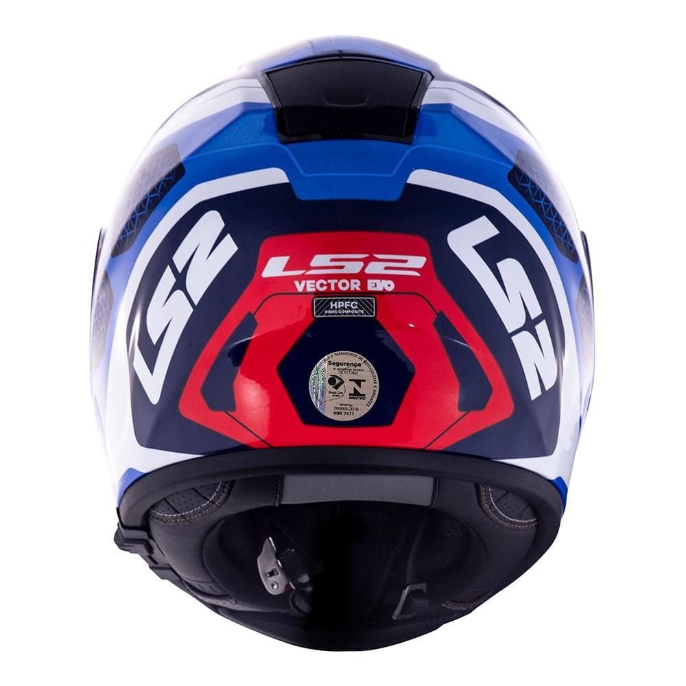 Capacete LS2 Vector FF397 Evo Interceptor - azul/vermelho  - Nova Suzuki Motos e Acessórios