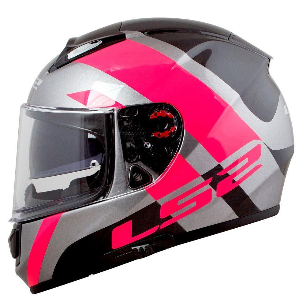 Capacete LS2 Vector FF397 Trident - Titanium/Pink - Feminino  - Nova Suzuki Motos e Acessórios