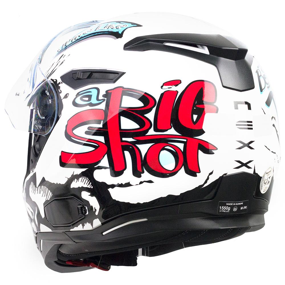 Capacete Nexx SX100 Big Shot Branco C/ Viseira Solar e Pinlock Anti-Embaçante (k3)  - Nova Suzuki Motos e Acessórios