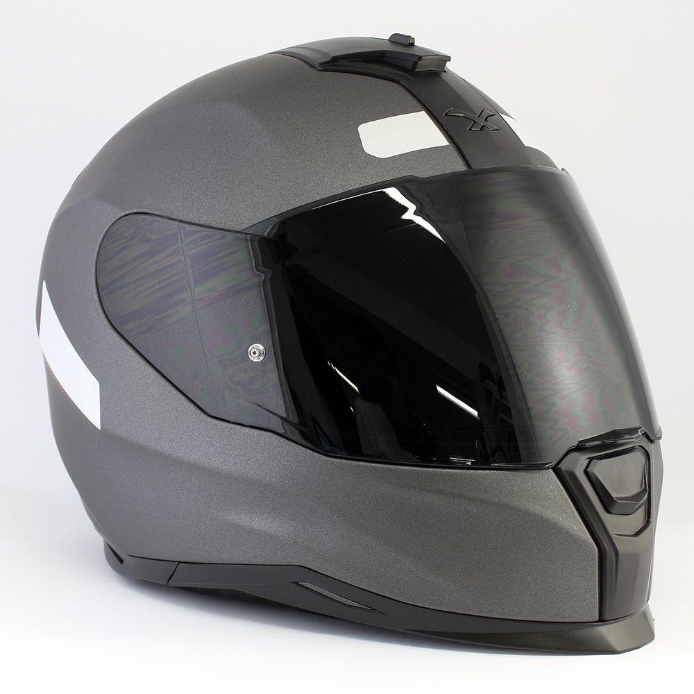 Capacete Nexx SX100 Core Cinza Fosco Com Viseira Solar Com Viseira Solar e Pinlock Anti-Embaçante (k3)  - Nova Suzuki Motos e Acessórios