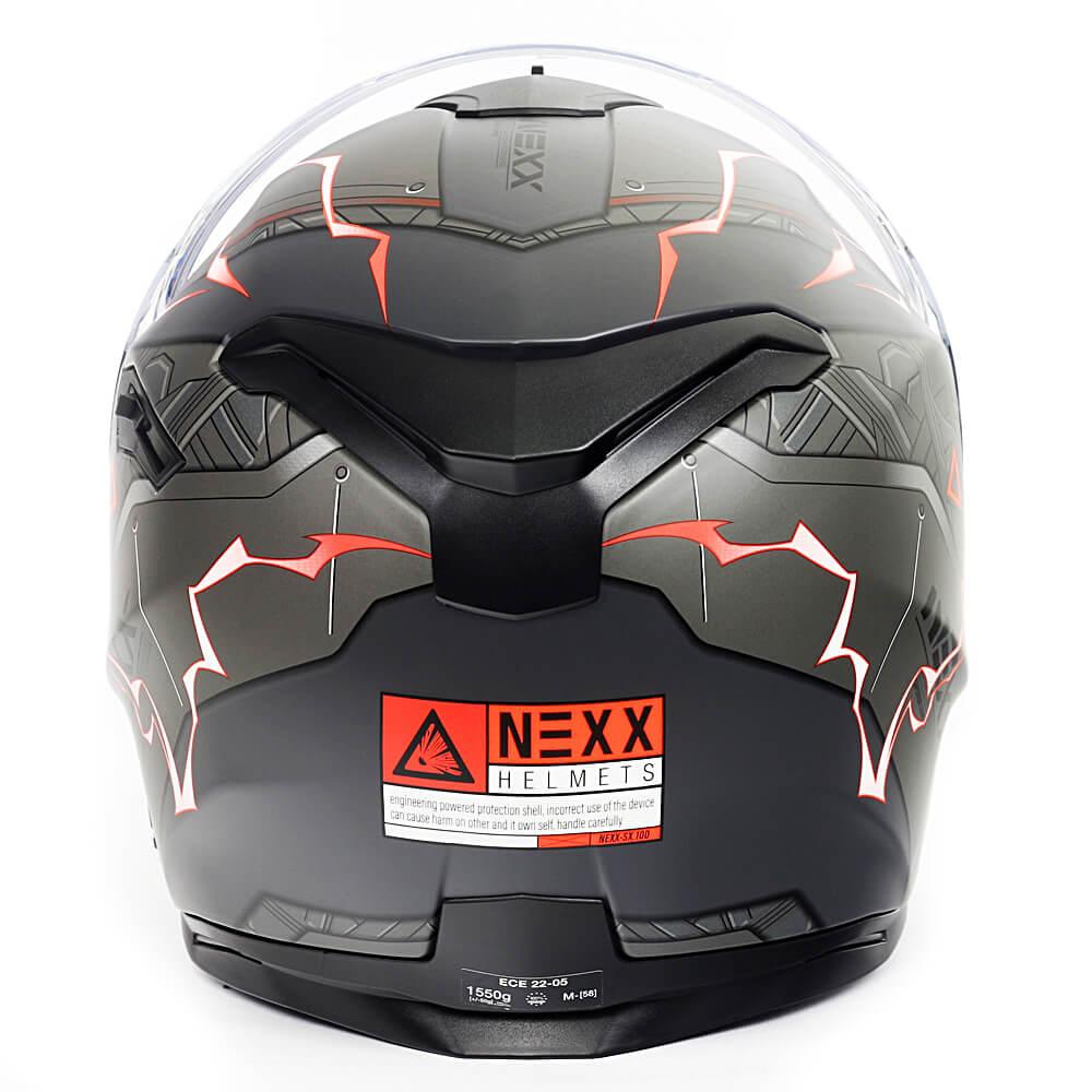 Capacete Nexx SX100 Gigabot Cinza/Vermelho Fosco C/ Viseira Solar e Pinlock Anti-Embaçante (k3)  - Nova Suzuki Motos e Acessórios
