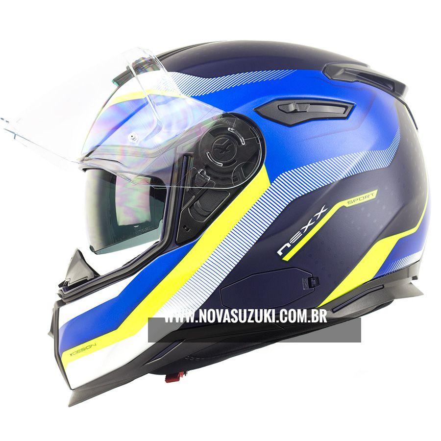 Capacete Nexx SX100 Mantik Azul Com Viseira Solar e Pinlock Anti-Embaçante (k3)  - Nova Suzuki Motos e Acessórios
