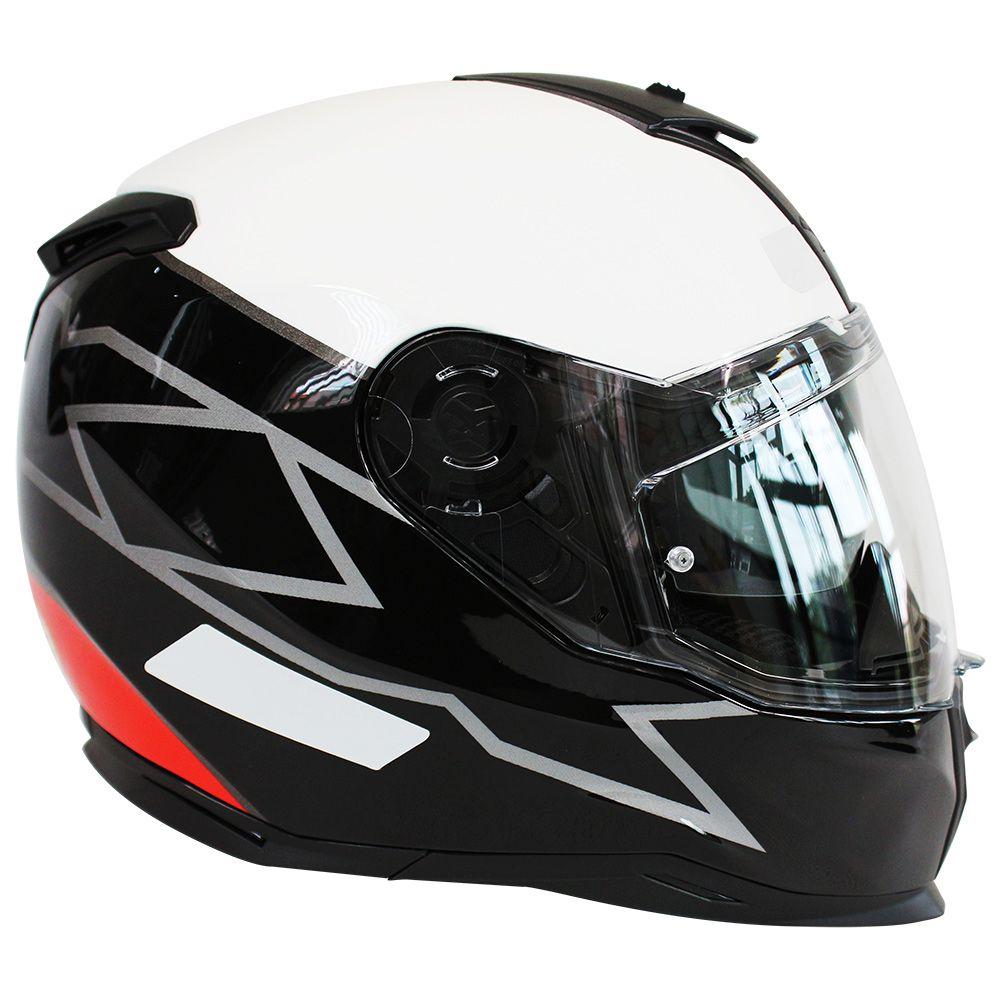 Capacete Nexx SX100 Orion Branco/Preto/Vermelho Com Viseira Solar e Pinlock Anti-Embaçante (k3)  - Nova Suzuki Motos e Acessórios