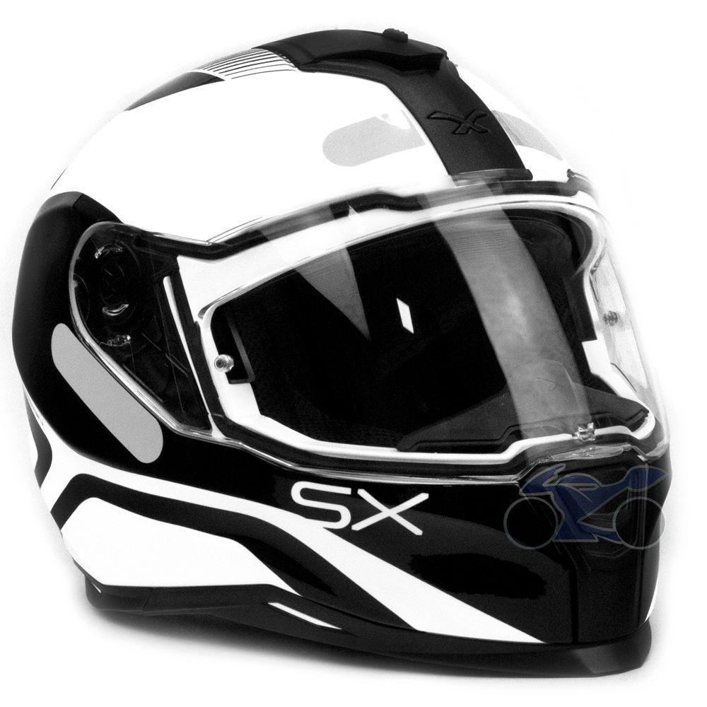 Capacete Nexx SX100 Popup Black/White C/ Viseira Solar e Pinlock Anti-Embaçante (k3)  - Nova Suzuki Motos e Acessórios
