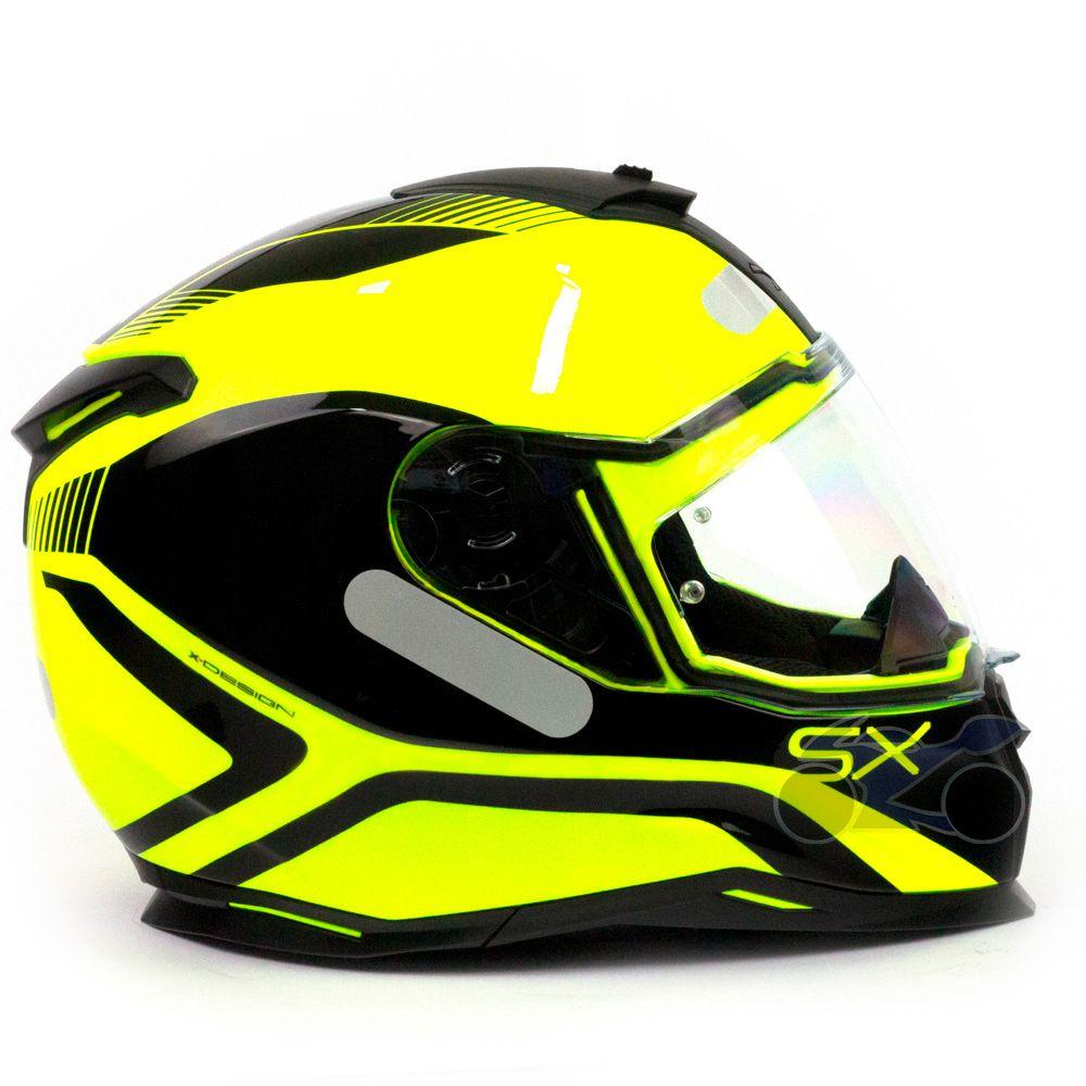 Capacete Nexx SX100 Popup Preto/Amarelo Com Viseira Solar e Pinlock Anti-Embaçante (k3)  - Nova Suzuki Motos e Acessórios
