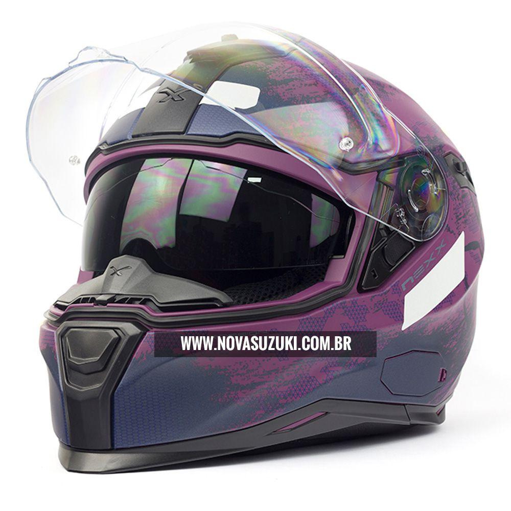 Capacete Nexx SX100 Toxic Roxo Fosco Feminino Com Viseira Solar e Pinlock Anti-Embaçante  - Nova Suzuki Motos e Acessórios